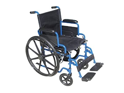 Drive Medical Blue Streak Wheelchair with Flip Back Desk Arms and Elevating Leg Rests