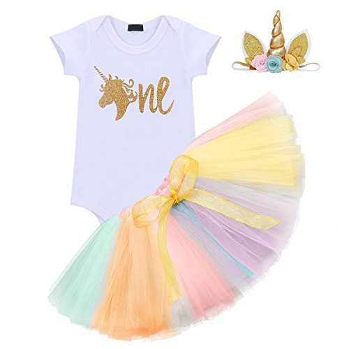 3PCS Toddler Baby Girls Unicorn Outfit One Mermaid Romper Top+Tutu Skirt + Headband Summer Clothes Set #1 Gold+Rainbow -