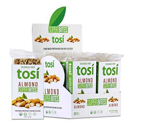 Tosi Organic SuperBites Vegan Snacks, Almond, 2.4oz (Pack of 12), Gluten Free, Omega 3s, Plant Protein Bars with Flax and Chia Seeds