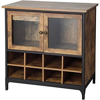 Rustic Country Wine Cabinet, Pine With 8 large slots for wine storage & Enclosed glass door storage for additional bottles or serving pieces. BONUS FREE E-Book