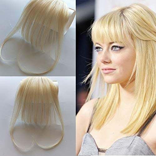 Hair Bangs With Temple Light Thin Forehead bangs Hairpiece 100% Human Hair Fringe Bleach Blonde Clip In Bangs For Women (Bangs For High Forehead And Thin Hair)
