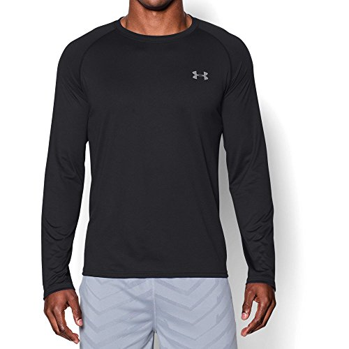Shirt Dry Down Button Tech (Under Armour Men's Tech Long Sleeve T-Shirt, Black (001)/Steel, Medium)