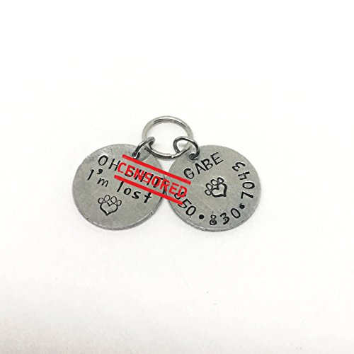 Oh Shit I'm Lost Personalized Hand Stamped Cat Dog Pet ID Tag