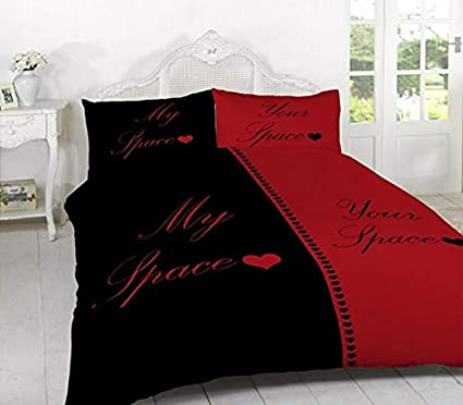 His and Her Side Black White Duvet Quilt Cover /& Pillow Cases Bedding Set