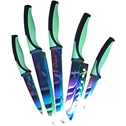 SiliSlick Kitchen Knife Set   5 Elegant Knives, Chef Quality, Premium SS Blades With Ergonomic Handles, Rainbow Effects With Titanium Coating, Safety Sheath, Perfect For Home & Pro Use, Best Gift