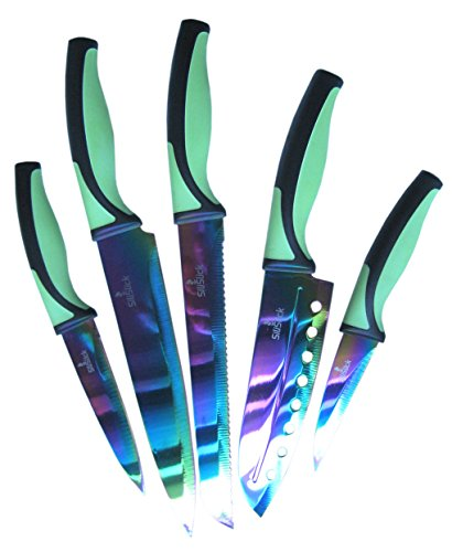 SiliSlick Kitchen Knife Set | 5 Elegant Knives, Chef Quality, Premium SS Blades With Ergonomic Handles, Rainbow Effects With Titanium Coating, Safety Sheath, Perfect For Home & Pro Use, Best Gift