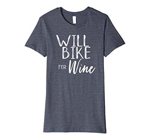 Funny Bike (Womens Will Bike for Wine Funny Cyclist Spin Class Rider Shirt Medium Heather Blue)