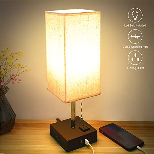 USB Table Lamp, Sailstar Bedside Lamps with Fast Dual USB Charging Ports and Outlet & Warm LED Bulb, Modern Nightstand Lamp with Black Base and Fabric Shade for Bedroom, Living Room, Office