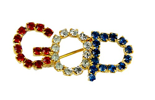 6030071 GOP Grand Old Party Lapel Pin Ole Rhinestones Brooch Republican RNC Vote Voting