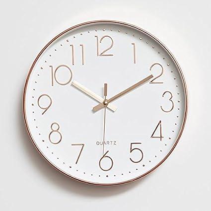 FortuneVin Reloj de Pared silencioso Reloj de Pared de Cuarzo Reloj de Decoración Adorno para Hogar
