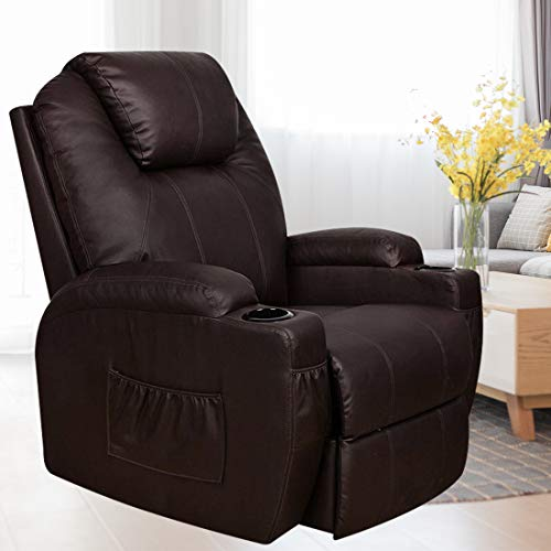(MAGIC UNION Power Lift Massage Recliner Heated Vibrating Chair with 2 Controls Wheels - Brown)