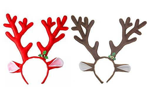 Rudolph The Red Nosed Reindeer Dog Costume (D-Foxes Reindeer Antlers Headband Headwear Hair Hoop for Christmas Headbands ,Party,Cosplay,Halloween and Easter Headbands Set of 2 (Brown+Red))