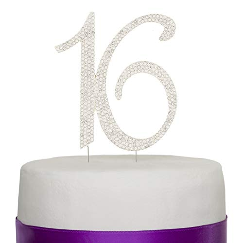 Ella Celebration 16 Cake Topper 16th Birthday Sweet 16 Party Supplies Decoration Ideas Silver Rhinestone Number (Silver)]()