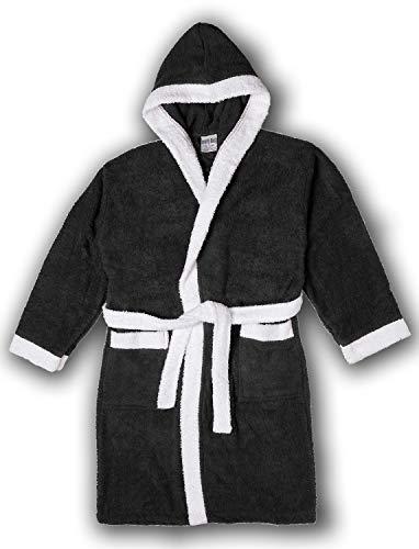 (Girls/Boys 100% Cotton Hooded Robe Kids Terry Cloth Bathrobe KR01_Y19 Black)