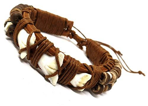 Shark Tooth Bracelet-Real Shark Bracelet-Shark Tooth Jewelry-Shark Bracelet Rasta (3 Light Brown) -