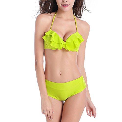 Sidiou Group Bañador encantador de color sólido,Bikini bañador delgado, Bañador de Cintura media con volante por Señorita, bañador de 80% nylon Verde