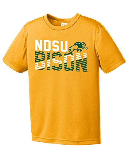 Image One NCAA North Dakota State Youth Boys Diagonal Short sleeve Polyester Competitor T-Shirt, Youth Large,Gold