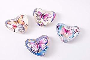 Lote de 4 imanes-Imanes con forma de corazón, diseño de mariposa