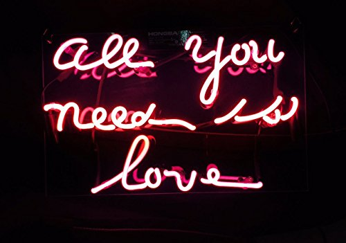 """WIKINEON Neon Sign Light Beer Bar Girls Wall Window Lights Bedroom Home Signs""""ALL YOU NEED IS LOVE""""13×8 Inch ,100V-240V,Pink"""