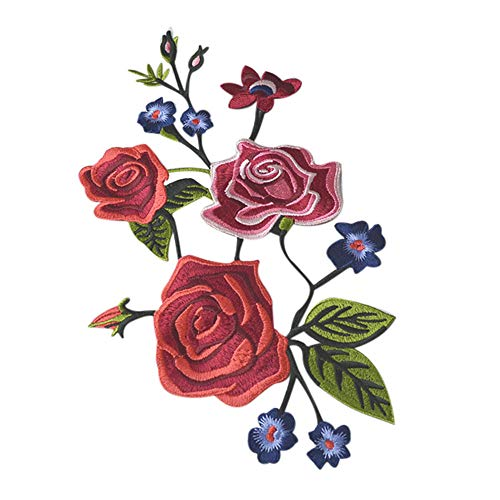 (Rose Applique,Pretty Rose Applique Clothing Embroidery Patch Sticker Iron Sew Cloth DIY for Clothings,Jeans)