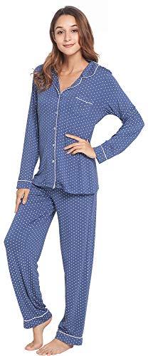 LazyCozy Womens Soft Sleepwear Long Sleeve Loungewear Button Down Pajamas Set