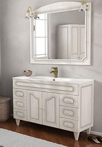 Mobile bagno in arte povera decapè bianco cm 105 con lavabo