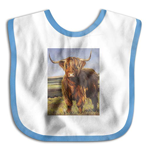 (Animal Yak Oil Paintings Imitation Silicone Bib Easily Wipes Clean Comfortable Soft Baby Bibs Keep Stains Off)
