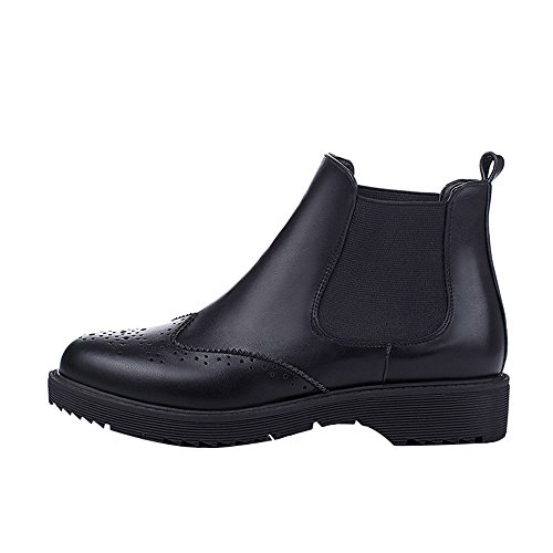 Enmayer Donna Pu Materiale Slip-on Moda Tempo Libero Retro Chelsea Boots Nero