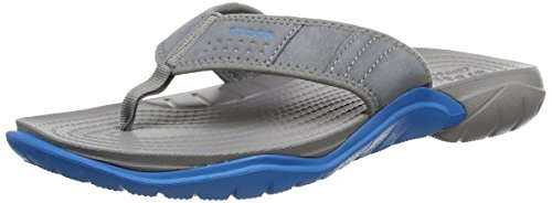 Mens Croc Embossed Leather (crocs Men's Swiftwater M Flip Flop, Graphite/Ultra Marine, 13 M)