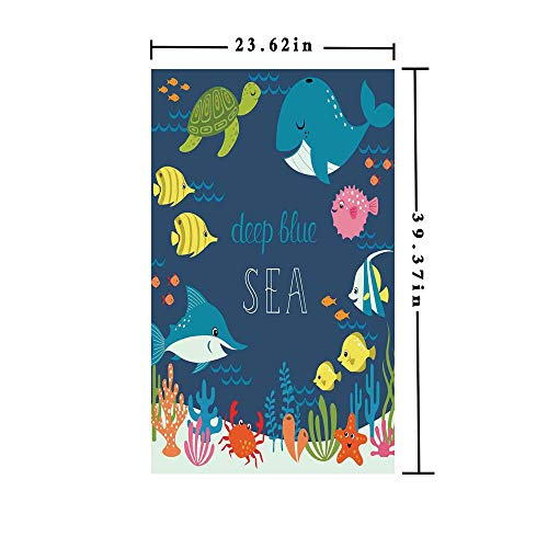 (Window Film decorate Glass Film 3D printed,Artsy Underwater Graphic with Algaes Coral Reefs Turtles Sword Fishes the Life Aquatic Motion,W15.7xL63in,No Glue Static Cling Glass Sticker with Multi)