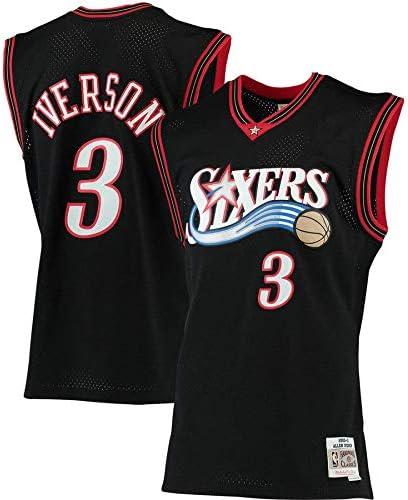 Philadelphia colore: Nero Maglia da basket Iverson Traning da uomo Allen 76ers a maniche corte