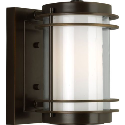 Progress Lighting P5895-108 1-Light Wall Lantern with Clear and Opal Glass, Oil Rubbed Bronze