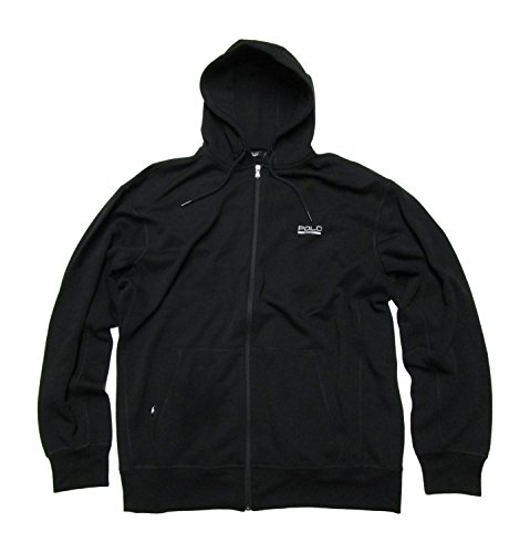 Polo Ralph Lauren Mens Polo Sport Big and Tall Full Zip Fleece Hoodie (XLT, Black)