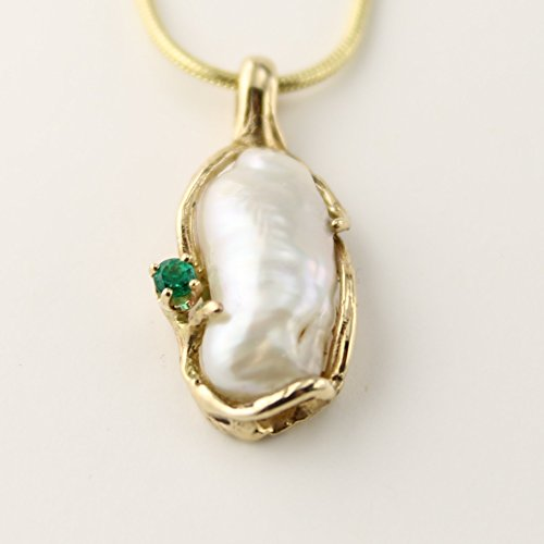 14 Karat Yellow Gold Free-Form Pendant featuring a Biwa Pearl accented with a natural Columbia Emerald.