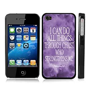 Philippians 4:13 Religious Bible Verse Inspirational Snap-On Black Cover Case for iPhone 4/4S - Jesus Christ