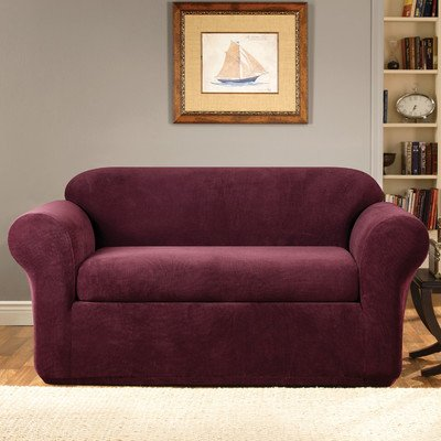Sure Fit Stretch Metro 2-Piece - Loveseat Slipcover  - Burgundy (SF39421)