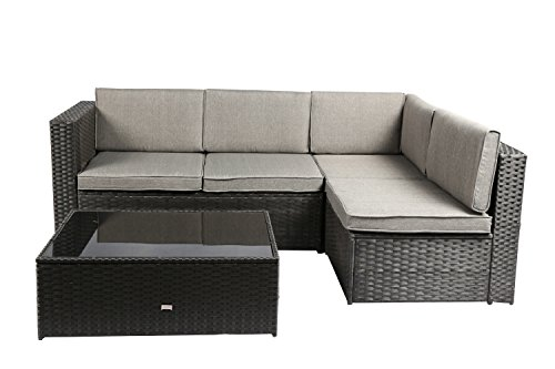 Baner Garden K87-BL Nat PE Wicker Patio Set, 4-Seater, (4 Seater Patio Set)