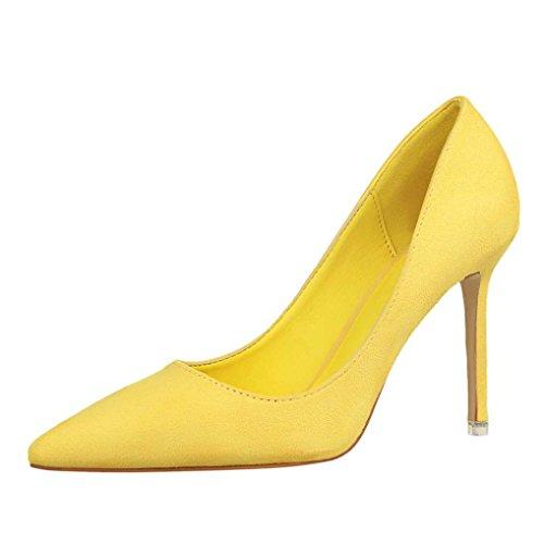 Talon Soirée Aiguille Femme Oaleen Escarpins Pointu Daim Ol Elégant Lemon Haut Chaussures Jaune Effet Bout qz77F