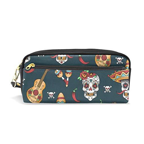 - Pen Case Mexican Skulls Guitar Pencil Pouch Makeup Cosmetic Travel School Bag