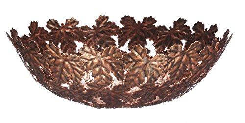 "12"" Faux Antique Copper Finish Maple Leaf Decorative Bowl"
