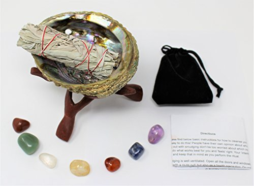 Rainbow Records Abalone Shell, Stand, Sage Smudge Stick, 7 Chakra Crystals & Full ()