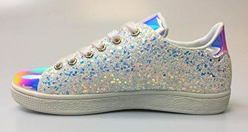 Forever Link Damen Peggy 44 Glitter Metallic gesteppte Schnürschuhe Low Top Fashion Sneaker Weißer Glitzer-1