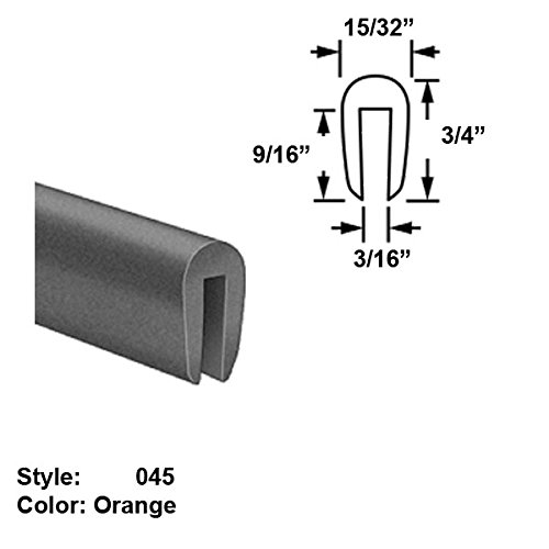 Silicone Rubber High-Temperature U-Channel Push-On Trim, Style 045 - Ht. 3/4'' x Wd. 15/32'' - Orange - 25 ft long by Gordon Glass Co.