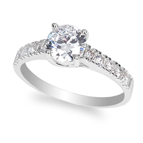JamesJenny 10K White Gold 0.9ct Round Clear CZ Beautiful Solitaire Ring Size 4-10