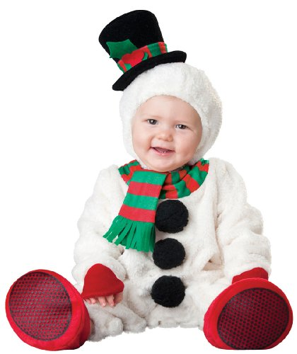 InCharacter Costumes Baby's Silly Snowman Costume, White/Red/Black/Red, Medium (6 Months-2 (Baby Snowman Costume)