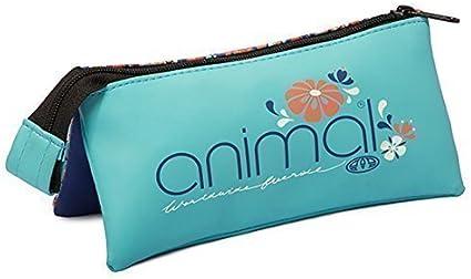 Animal - Estuche con tres bolsillos - Estampado floreado en azul marino y melocotón: Amazon.es: Oficina y papelería