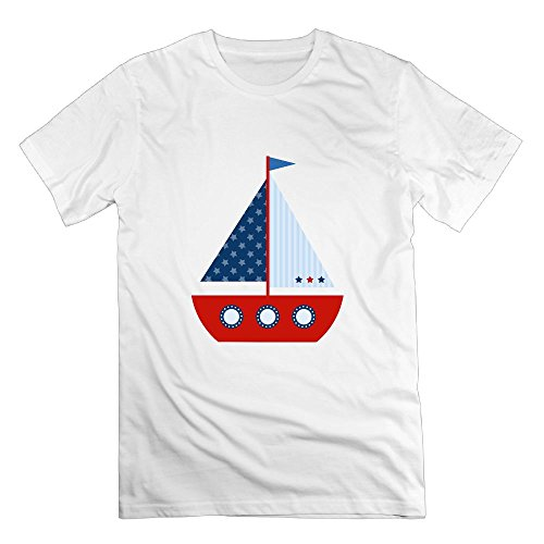 American Fluorescent Et Series (American Blue Sailor Boat Crew Neck Short-Sleeve T Shirts Cotton For Men Tee)