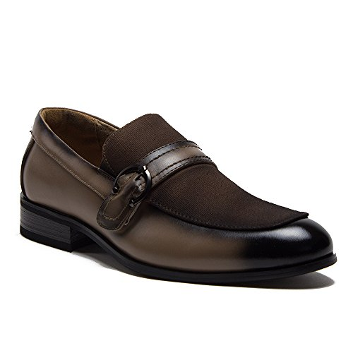Leather Horse Bit Loafers - J'aime Aldo New Men's 36821 Leather Lined Combined Vamp Horse Bit Buckle Slip On Dress Loafer Shoes, Brown, 10