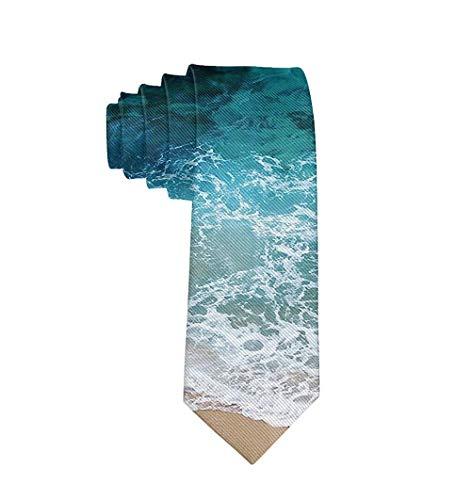 Men's Blue Sea Waves Necktie Polyester Silk Soft Business Gentleman Tie Necktie