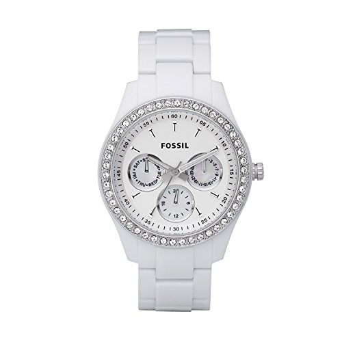 Se White Dial - Fossil Women's Stella Quartz Stainless Steel and Resin Chronograph Watch, Color: White (Model: ES1967)